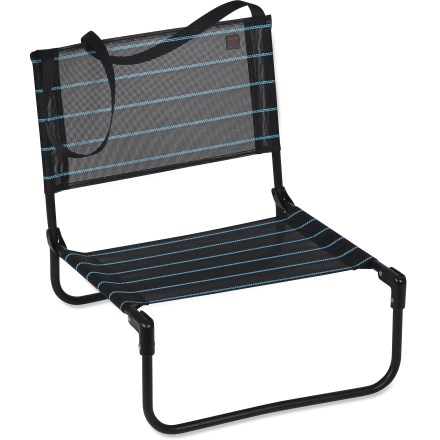 Camp and Hike The Lafuma CB Folding chair travels to the beach, campsite or outdoor concert with ease so you can enjoy a comfortable seat at all times. Chair quickly folds flat and includes a carrying strap for easy transportation. Folding design won't pinch your skin so all you have to worry about is kicking back and relaxing. Batyline mesh fabric stands up to UV radiation, resists mold and withstands regular use in the outdoors. Lafuma CB Folding chair has a powder-coated steel frame that supports up to 260 lbs. - $13.93