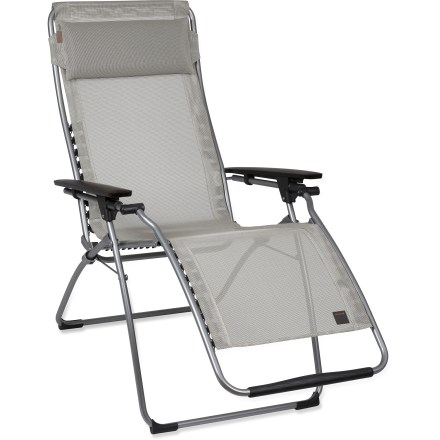 Camp and Hike The oh-so-comfortable Lafuma Futura Clipper lounger chair lets you kick-back and relax while reading a good book or even catching a few ZZZ's! Luxurious lounge chair adjusts progressively from an upright sitting position to fully reclined, and locks into place. Adjust your positioning by simply pushing or pulling on the armrests. Durable Batyline(R) fabric is ideal for outdoor furniture because of its UV resistance, antibacterial treatment and open weave that does not hold water. Patented Clipper system securely attaches the fabric to the frame for excellent support; fabric can be easily removed for cleaning or replacement. Removable, adjustable headrest adds to your comfort. Chair folds in 1 simple, smooth action for compact storage or travel. Lafuma Futura Clipper lounge chair features high limit elastic (HLE) steel tubing that is strong and supportive. - $189.95