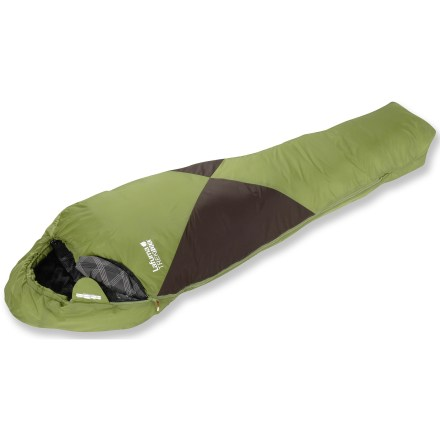 Camp and Hike The Lafuma Trek 1000 +40 Sleeping bag is ready to accompany you on warm-weather retreats. Polyamide and ripstop polyamide shell stands up to life on the trail; soft polyester lining is comfortable in warm weather. Synthetic fiber fill provides excellent warmth for its weight and remains extremely breathable; synthetic fill continues to insulate when wet. Insulated hood features a drawcord, making quick adjustments and improving thermal efficiency a cinch. Full-length, antisnag locking zipper allows bag to be joined to another Lafuma bag so 2 people can sleep under the same cover. Includes a stuff sack. Special buy. - $27.83