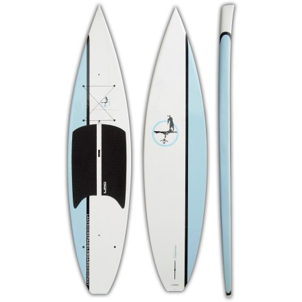 Wake Offering flatwater-specific features, the Lakeshore Paddleboard Company Heavenly stand up paddleboard smoothly cruises your favorite lake, pond or bay. Besides providing a new way to get on the water, paddleboarding develops core muscles and balance-it's the perfect training activity for surfers, skiers and paddlers. Vertically shaped front bow slices through the water, and front-displacement hull enhances performance on flatwater. Thick side rails increase stability, durability and buoyancy. Incredibly stable 32 in. width offers stability that inspires confidence in beginning paddlers and offers pleasurable performance for any skill level. EPS, epoxy, bamboo and fiberglass construction reduces weight, increases durability and creates high responsiveness; bamboo layer reinforces board strength. Comfortable deck pad offers traction and softness under your feet. Tie-down points and front bungee cord transport accessories. Built-in carry handle built at the center of mass eases transport to the water. 2-way air vent reduces condensation and equalizes pressure due to temperature and elevation changes with a waterproof, breathable membrane. 11 in. fiberglass fin enhances tracking. - $1,168.93