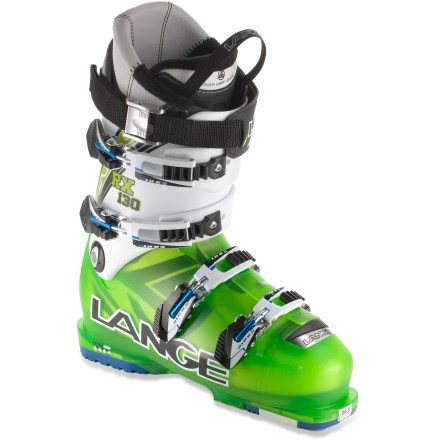 Ski The Lange RX 130 ski boots balance high-energy precision with a great fit you can enjoy for hours. 100mm last and shells made from a single, uniform material ensure the Lange RX 100s offer the perfect mix of responsiveness and comfort. Because the boots are made of a single, uniform material (versus bi-injected shells), power transfer is highly efficient. Shells are designed to create a centered, balanced stance using a low heel lift and an upright forward lean. Upright, natural stance makes it easy to stay balanced on today's shaped and rockered skis, reducing fatigue and increasing efficiency of skiing technique. Control Fit liners conform to your feet for comfort and an aggressive, high-performance fit; liners may be custom molded using a heat treatment. Foam padding in the liners resists packing out; and a right- and left-foot-specific fit eliminates pressure points. Reinforced wedges in tongues remove gaps between liners and shells and enhance wrap on upper leg. Specially designed insteps provide excellent midfoot fit, resulting in heightened responsiveness, increased circulation and greater warmth. 1-piece toe boxes and tongues eliminate seams and overlaps in the tongue attachment area, reducing pressure points at the instep and top of the toes. Low-profile buckles sit low on the shell and creates a strong, precise closure. Adjust cuff tightness with a simple rotation of the buckle catches; catches adjust 20mm, corresponding to the 3 positions of a conventional catch. Ensuring your feet stay warm, a long and deep toe dam creates a tight seal against moisture and snow. Elastic 40mm power straps provide exceptional flex and store energy from 1 turn to the next. Rubber soles offer traction for walking on slippery surfaces. With a 130 flex index, Lange RX 130 ski boots provide the responsive power transfer preferred by aggressive experts. - $389.83