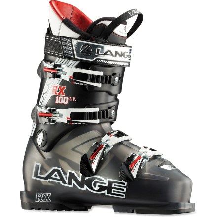 Ski The Lange RX LV 100 ski boots bring precision, comfort, and performance together in a low-volume boot. 97mm last and shells made from a single, uniform material ensure the Lange RX LV 100s offer high performance. Because the boots are made of a single, uniform material (versus bi-injected shells), power transfer is very efficient. Shells are designed to create a centered, balanced stance using a low heel lift and an upright forward lean. Upright stance makes it easy to stay balanced on today's shaped and rockered skis, reducing fatigue and increasing efficiency of skiing technique. Control Fit liners conform to your feet for comfort and an aggressive, high-performance fit; liners may be custom molded using a heat treatment. Foam padding in the liners resists packing out; and a right- and left-foot-specific fit eliminates pressure points. Reinforced wedges in tongues remove gaps between liners and shells and enhance wrap on upper leg. Specially designed insteps provide excellent midfoot fit, resulting in heightened responsiveness, increased circulation and greater warmth. 1-piece toe boxes and tongues eliminate seams and overlaps in the tongue attachment area, reducing pressure points at the instep and top of the toes. Low-profile buckles sit low on the shell and creates a strong, precise closure. Adjust cuff tightness with a simple rotation of the buckle catches; catches adjust 20mm, corresponding to the 3 positions of a conventional catch. Ensuring your feet stay warm, a long and deep toe dam creates a tight seal against moisture and snow. 40mm power straps provide exceptional flex and store energy from 1 turn to the next. Rubber soles offer traction for walking on slippery surfaces. With a 100 flex index, Lange RX 100 LV ski boots provide the responsive power transfer preferred by expert skiers. - $249.83