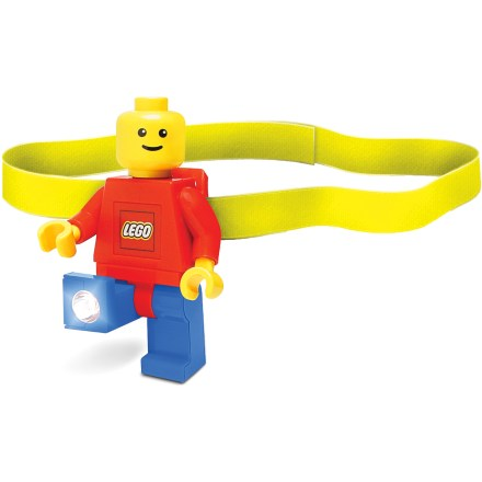 Camp and Hike The Play Visions LEGO(R) Minifigure LED headlamp combines the fun and nostalgia of LEGO toys with a functional, hands-free light source. Press the button on LEGO minifigure's chest to turn on the bright white LED lights in his feet. With posable arms and legs, the lights can be angled to create 1 beam or shine in 2 different directions simultaneously. Runs on 2 CR2025 3v batteries (included). Minifigure headlamp can be clipped to the headband (included), clothing, backpack and more. Recommended for ages 5 years and up. - $15.00