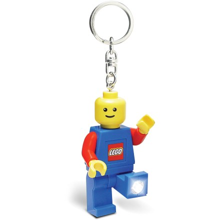 The Play Visions LEGO(R) Minifigure LED keychain light combines the fun and nostalgia of LEGO toys with a convenient and functional light source. Press the button on LEGO minifigure's chest to turn on the bright white LED lights in his feet. With posable arms and legs, the lights can be angled to create 1 beam or shine in 2 different directions simultaneously. Runs on 2 CR2025 3v batteries (included). Recommended for ages 5 years and up. - $6.93