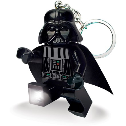 The LEGO(R) Darth Vader Minifigure LED keychain light combines the dark side of the Force with a convenient and functional light source. Press the button on Darth's chest to turn on the bright white LED lights in his feet. With posable arms and legs, the lights can be angled to create 1 beam or shine in 2 different directions simultaneously. Runs on 2 CR2025 3V batteries (included). The LEGO(R) Darth Vader Minifigure LED keychain light is recommended for ages 5 years and up. - $12.00
