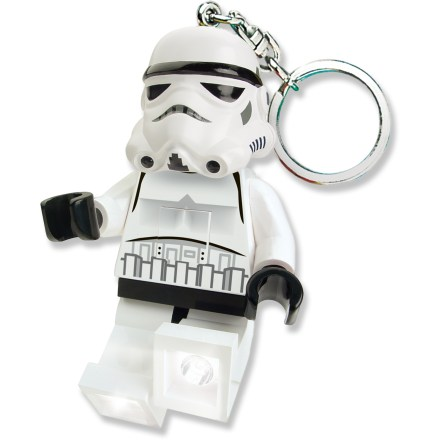 The LEGO(R) Stormtrooper Minifigure LED keychain light combines the military might of the Galactic Empire with a fun, convenient and functional light source. Press the button on the Stormtrooper's chest to turn on the bright white LED lights in his feet. With posable arms and legs, the lights can be angled to create 1 beam or shine in 2 different directions simultaneously. Runs on 2 CR2025 3V batteries (included). The LEGO(R) Stormtrooper Minifigure LED keychain light is recommended for ages 5 years and up. - $8.93
