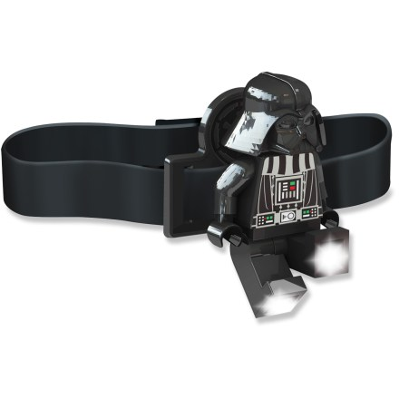 Camp and Hike The LEGO(R) Darth Vader Minifigure LED headlamp combines the dark side of the Force with a functional, hands-free light source. Press the button on Lord Vader's chest to turn on the bright white LED lights in his feet. With posable arms and legs, the lights can be angled to create 1 beam or shine in 2 different directions simultaneously. Runs on 2 CR2025 3V batteries (included). Minifigure headlamp can be clipped to the headband (included), clothing, backpack and more. The LEGO(R) Darth Vader Minifigure LED headlamp is recommended for ages 5 years and up. - $18.00