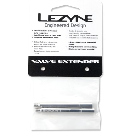 Fitness The Lezyne valve extenders add 70mm of length to Presta valves for easier tire pumping. - $6.93