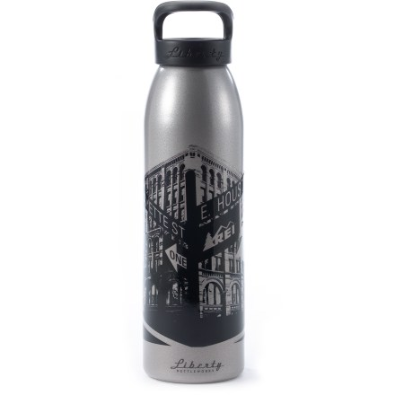 Camp and Hike Get the Liberty Bottleworks REI NYC SoHo aluminum water bottle and help us celebrate the opening of our first New York City store in the historic Puck building. Made in the United States from 100% recycled aluminum; all materials used are 100% BPA free. Food-grade polypropylene screw cap utilizes a food-grade silicone O-ring to prevent leaks. Food-grade polyester powder coating on the inside of the bottle is BPA free. Liberty Bottleworks REI NYC SoHo aluminum water bottle holds 24 fl. oz. - $9.93