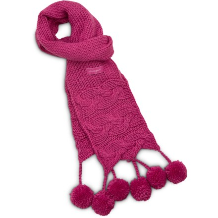 Entertainment The girls' Snowball knit scarf from Life is good(R) is super soft and warm. Soft acrylic insulates even when wet, but unlike wool, it doesn't itch, and it dries quickly when damp. Scarf measures 56 x 5 in. Closeout. - $13.83