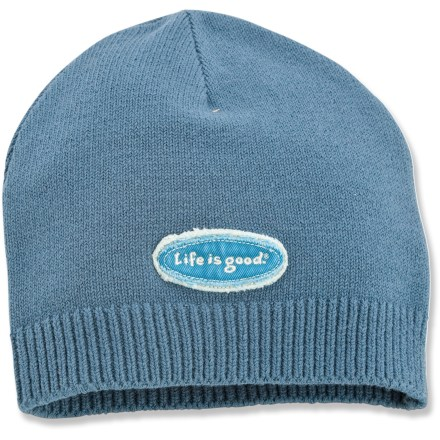 Ski Throw on the Life is good(R) Tattered Graphic hat and stay warm! Cotton/spandex blend fabric is soft, warm and comfortable. Closeout. - $8.83