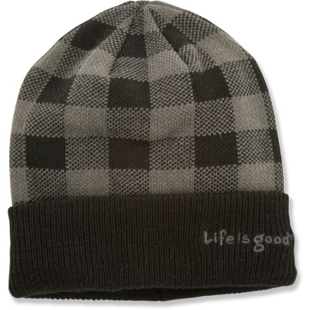 Ski The Life is good(R) Woodsman hat is perfect for the lumberjack in your life. Soft and itch-free acrylic will keep them warm and comfortable while splitting wood. Closeout. - $10.83