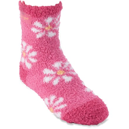 The Life is good(R) Lightweight Snuggle socks for girls might be softer and even more snuggle-worthy than her favorite stuffed animal. Irresistibly soft polyester fabric offers breathability and comfort; a touch of spandex adds stretch. Small size features printed grippy pattern for additional traction. *Discount will be applied when you check out. Offer not valid for sale-price items ending in $._3 or $._9. - $3.93