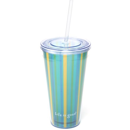 Camp and Hike A toast to summer relaxing, the Cup & Straw combo from Life is good(R) lets you sip to your heart's content. Sturdy acyrlic holds up to daily use. Straw has rubber gasket to help prevent spills. Note: hand wash only. - $8.93