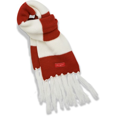 Ski Keep her warm with the Life is good(R) Snowflake Sleigh scarf. Soft acrylic provides the warmth of wool without the itch, and it dries quickly. Scarf measures 50 x 6 in. Closeout. - $16.83
