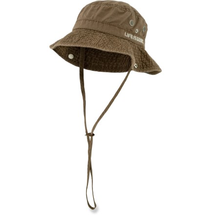 The Life is good(R) Ripstop Bucket hat is perfect for sun-filled explorations. Cotton fabric is naturally soft, breathable and comfortable. Chin strap keeps the Life is good(R) Ripstop Bucket hat on your head if the breeze kicks up. Closeout. - $11.83