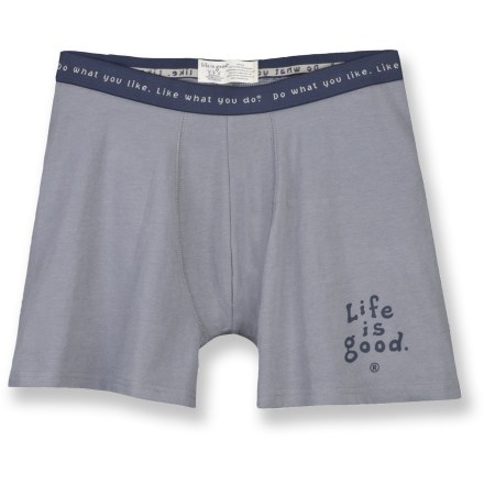 These Life is good(R) boxer briefs are soft and comfortable-start your day right! Made of soft cotton with a touch of spandex for a great fit. Life is good(R) boxer briefs feature a 4.5 in. inseam. - $10.93