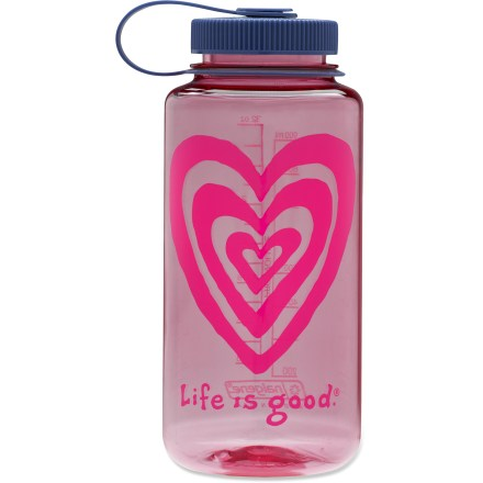 Camp and Hike This 32 fl. oz. Life is good(R) water bottle keeps you hydrated and happy with fresh colors and graphics. Bottle is completely BPA-free and dishwasher safe (top rack only). Suitable for both warm and cold beverages. Life is good(R) water bottle boasts high resistance to cracking, hazing and chemicals. Wide-mouth design is easy to fill, and the loop-top means you're less likely to lose the lid. . - $7.93