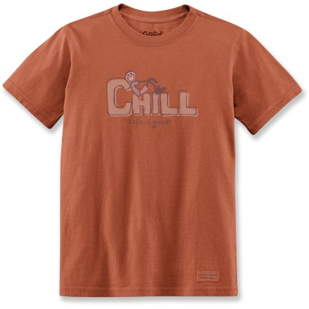 "The boys' Life is good(R) Chill Crusher T-shirt is sure to help your little outdoorsman relax after his adventures. Cotton is naturally soft, breathable and comfortable. ""Crushing"" process yields extra loft in fabric and doubles the softness. - $9.93"
