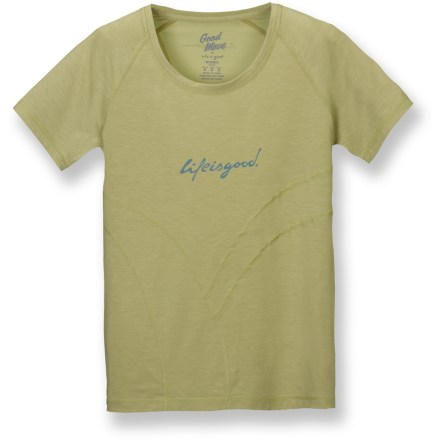 The Life is good(R) Good Move(R) Rhythmic T-shirt blends hard-working performance with feminine accents. Polyester and spandex blend wicks moisture and dries quickly. Scoop neck and decorative stitching. Semifitted. Closeout. - $11.83