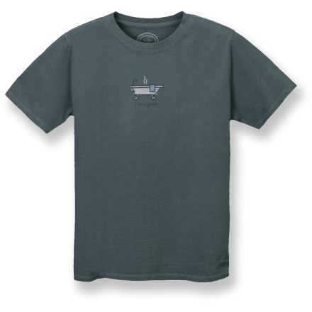 "The Life is good(R) Crusher T-shirt is a sound choice for warm-weather activities. Fresh pigment-dyed color, original graphics and exceptionally soft cotton are all signatures of this shirt. ""Crushing"" process yields extra loft in fabric and doubles the softness. Relaxed fit. Closeout. - $9.83"