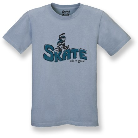 "Skateboard The Life is good(R) Creamy T-shirt features a fun skate graphic that's sure to please. Made from ""creamy"" sueded cotton that is garment-washed for pleasing softness from the first wearing. Closeout. - $12.73"