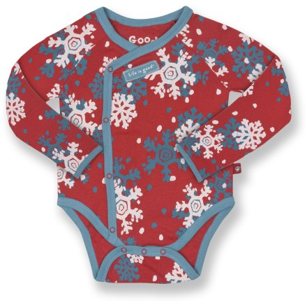 The Life is good(R) One Peace long-sleeve bodysuit outfits your infant for their day. Soft cotton keeps baby comfortable. Features easy-entry lap shoulders with no buttons. 3-snap bottom opening makes diaper changes as easy as they can be. Closeout. - $7.73