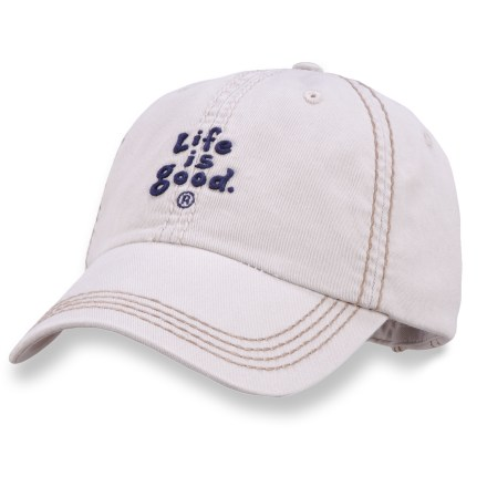 The Life is good(R) Essentials Chill cap is perfect for hikes, walks and hanging around. Made with soft cotton twill, this ball cap is extremely comfortable and requires little or no break-in time. Front of the Essentials Chill cap sports embroidered Life is good(R) lettering for added appeal. Garment-washed for a weathered look and feel. Adjustable rear strap lets you dial in the fit. Closeout. - $7.83