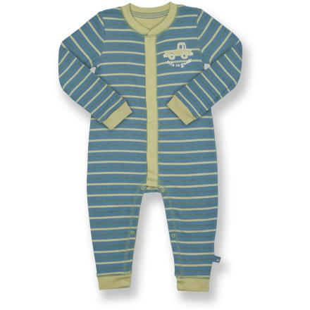 Made of soft cotton, the Life is good(R) Snappy romper keeps your little one feeling great. Features easy-entry, full-snap front and legs. Closeout. - $6.73