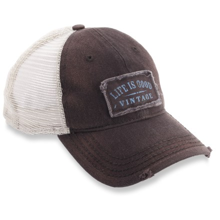 Entertainment The Life is good(R) Mesh Back cap puts a fun spin on the classic trucker hat. Cotton front and nylon mesh back keep head comfortable. Plastic strap in back adjusts the fit. Closeout. - $8.83