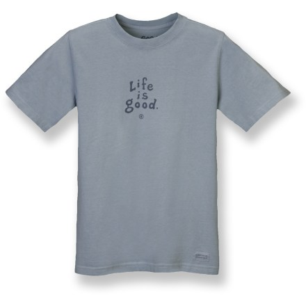 "Fun graphics and a great fit make the Life is good(R) Crusher T-shirt a sound choice. ""Crushing"" process and garment-dyed fabric provides a distinctive, weathered color and extra-soft feel. Cotton fabric is naturally soft, breathable and comfortable. Closeout. - $8.83"