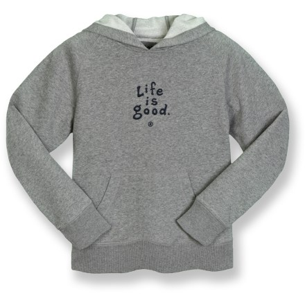 The Life is good(R) Softwash hoodie top is warm and cozy. Cotton/polyester blend fleece fabric keeps him warm. Hood with drawcord adjustment and kangaroo front procket offer a warm refuge. Raglan sleeves allow unhindered shoulder movement. Rib-knit cuffs and hem retain their shape. Closeout. - $21.73