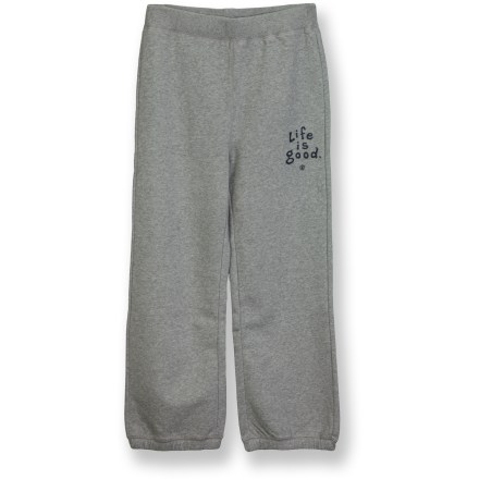 He'll slip into the Life is good(R) Softwash sweatpants like they're old, broken-in favorites. Soft, breathable cotton and polyester fibers are blended for durability. Garment-washed for a soft, broken-in feel. Elastic hem keeps Life is good(R) Softwash sweatpants in place. Closeout. - $23.93