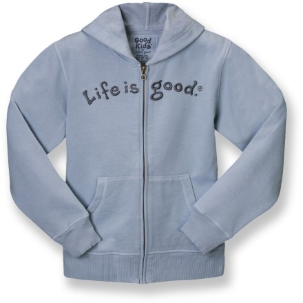 The Life is good(R) Softwash Zip Front Hoodie is simple, clean and stylish. He'll love it. Cotton/polyester blend is warm and comfortable; sueded finish. Embroidered front logo. Hand pockets, hood and rib-knit cuffs and hem round out features. Closeout. - $22.73