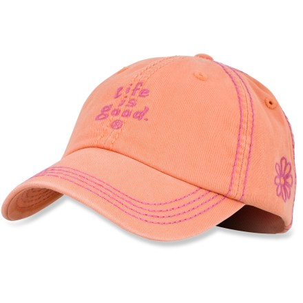 The sporty Life is good(R) Essentials Chill cap is a great choice for sun-filled days. Made with soft cotton twill, this ball cap is extremely comfortable and requires little or no break-in time. Garment-washed for a weathered look and feel. Adjustable rear strap lets you dial in the fit. Closeout. - $7.83