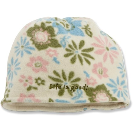 Ski The Life is good(R) Floral Reversible Fleece hat is a great choice for cold-weather wear. Soft, non-pilling polyester fleece retains warmth, continuing to insulate even if wet. Reversible design offers 2 ways to wear. Closeout. - $11.83