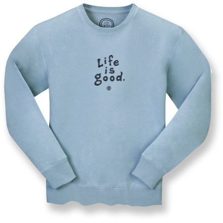Experience softness with the Life is good(R) Softwash Crew top. Cotton/polyester fleece blend fabric is warm and breathable; sueded and garment washed. Set-in sleeves and rib-knit at cuffs, hem and neck. Relaxed fit. Closeout. - $19.83