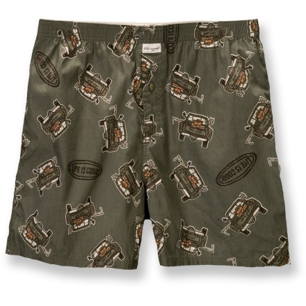 Life is good(R) Boxers keep you comfortable through the day. Soft, breathable cotton fabric is washed for softness. Elastic waistband. Button fly. Relaxed fit. Closeout. - $7.83