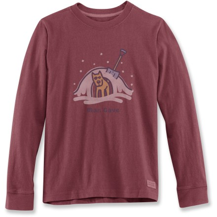"The Life is good(R) Man Cave Crusher long-sleeve T-shirt for boys features a fun graphic and a great fit. Cotton fabric is naturally soft, breathable and comfortable. ""Crushing"" process and garment-dyed fabric provides a distinctive, weathered color and extra-soft feel. - $12.93"