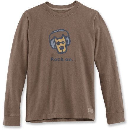 "Boys will love the soft comfort of the LIfe is good(R) Rock On Crusher T-shirt. ""Crushing"" process and garment-dyed fabric provides a distinctive, weathered color and extra-soft feel. Cotton fabric is naturally soft, breathable and comfortable. - $12.93"