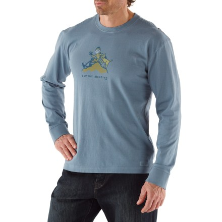 "The Life is good(R) Summit Meeting Crusher long-sleeve T-shirt is soft and comfortable and sports a fun graphic. Fresh pigment-dyed color, original graphics and exceptionally soft cotton are all signatures of this shirt. ""Crushing"" process yields extra loft in fabric and doubles the softness. - $15.93"