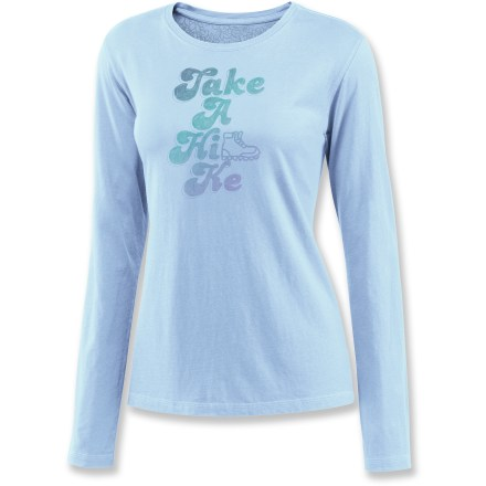 "Camp and Hike Enjoy the soft goodness that is the Life is good(R) Creamy long-sleeve T-shirt. And hey, while you're at it go take a hike! ""Creamy"" sueded cotton is garment-washed for softness from the get go. Relaxed fit. - $24.93"