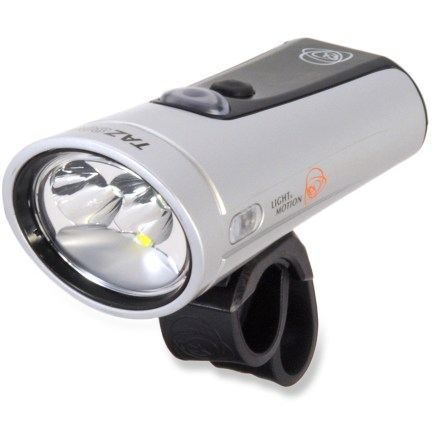 Fitness Compact, bright and self-contained, the Light & Motion Taz 800 front bike light offers lightweight bar-top illumination for all your riding needs, from endurance MTB racing to commuting. Cruise mode sequentially cycles through high (800 lumens), medium (400 lumens), low (200 lumens), pulse and flash (both 200 lumens) light settings. Race mode conserves battery power by skipping medium and flash modes, offering just the medium setting for climbing and the high setting is just a click away for descents. Integrated lithium ion battery offers a 2 hr. run time on its highest output setting; drop to lower power settings to extend run time. Rechargeable via micro USB; depending on your USB charging rate, the Taz 800 will fully charge in 3, 7, or 13 hrs. (2A, 1A, 0.5A respectively). The Light & Motion Taz 800 bike light is designed to be mounted on your handlebar (fits most handlebars). - $250.00