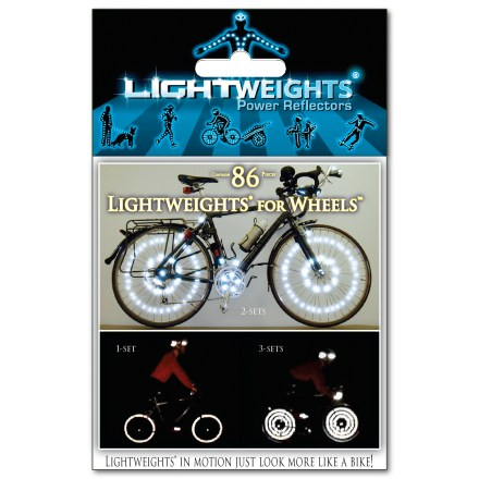 Fitness Lightweights for Wheels(TM) power reflectors are made from 3M Scotchlite(TM) reflective material and can be placed on wheels of all kinds for visibility from all directions. - $15.00