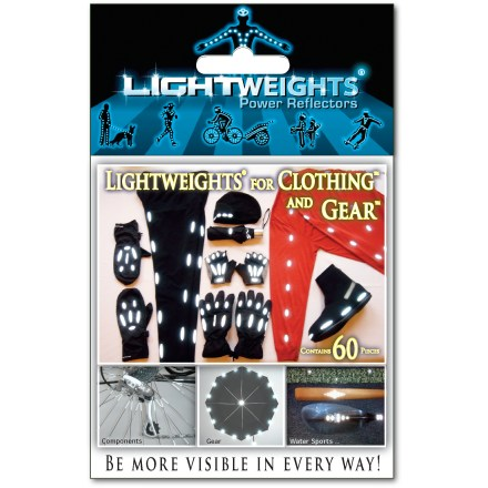 Fitness Lightweights for Clothing and Gear(TM) power reflectors are made from 3M Scotchlite(TM) reflective material and can be placed on clothing of all kinds for visibility from all directions. - $14.00