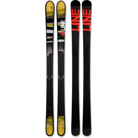 Ski Snappy, quick and light, the Line Prophet 90 skis let you explore to your heart's content. Built for days that take you all over the mountain, the Line Prophet 90 skis excel on variable terrain, and they'll hold their own on powder days. Cap construction on top of skis and sidewalls over edges blends light responsiveness with the durability and solid feel of sidewalls. Die-cut metal laminate enhances edge-grip under foot and increases torsional responsiveness in the tips. Skis stiffen progressively from tip to tail, resulting in easy flotation, powerful acceleration out of turns and increased stability. Very subtle rockered tips makes it easy to start turns on hardpack and helps flotation in deep snow. Geometry of skis incorporates 5 different turn radii to create effortless turn initiation with solid edge hold and responsive exits. Directional twin-tip design slightly favors skiing forward. Increased the thickness of a standard base and edges adds significant durability and impact resistance, and it lets you tune your skis many times throughout the season. High-quality sintered base retains wax and glides easily over snow. Base or topsheet color may vary from online photo. Line Prophet 90s skis require bindings with wide brakes. - $359.83