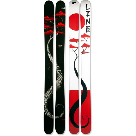 Ski Versatile and tough, the Line Mr. Pollard's Opus skis are designed to create ear-to-ear grins in backcountry powder. Designed by skier, artist and filmmaker Eric Pollard, the Mr. Pollard's Opus skis ride high in the pow and let you turn the backcountry into your own personal terrain park. Core consists of light and strong maple wood stringers surrounded by aspen wood to provide power, stability and long-lasting responsiveness. Symmetrical flex pattern in the tip and tail allows responsive riding forward or backward. Tip and tail rocker floats high in backcountry powder whether skiing forward or switch; relatively low rise planes through powder instead of plowing up and over. Geometry of skis incorporates 5 different turn radii to create effortless turn initiation with solid edge hold and responsive exits. Early Taper(TM) places the widest points of the tip and tail closer to the center of the ski, reducing tail drag and hooking in powder. You'll notice the grippy feel of these skis on hardpack thanks to the extended length of the edges. Thin core and sidewall in the tips reduce weight and make them easier to control. P-tex plastic sidewalls isolate vibrations, offering high-end damping characteristics. Steel edges seamlessly wrap around the entire tip, delivering superior carving and long-lasting performance. Increasing the thickness of a standard base and edge adds significant durability and impact resistance, and it lets you tune your skis many times throughout the season. High-quality sintered base retains wax and glides easily over snow. Base or topsheet color may vary from online photo. Requires bindings with wide brakes. - $419.83