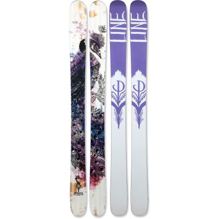 Ski When the powder is deep, the Line Pandora skis open up a whole new world of backcountry fun. These skis were made for the deepest of the deep, the fluffiest of the fluff, and the softest of the soft, but they also transition well onto groomed runs. Aspen wood core consists of a blend of high-quality wood laminates that reduce weight and enhance overall strength. Symmetrical flex pattern in the tip and tail allows responsive riding forward or backward. Tip and tail rocker floats high in backcountry powder whether skiing forward or switch; relatively low rise planes through powder instead of plowing up and over. Geometry of skis incorporates 5 different turn radii to create effortless turn initiation with solid edge hold and responsive exits. Early Taper(TM) places the widest points of the tip and tail closer to the center of the ski, reducing tail drag and hooking in powder. You'll notice the grippy feel of these skis on hardpack thanks to the extended length of the edges. Thin core and sidewall in the tips reduces weight and makes skis easier to control. P-tex plastic sidewalls isolate vibrations, offering high-end damping characteristics. Increasing the thickness of a standard base and edge adds significant durability and impact resistance, and it lets you tune your skis many times throughout the season. High-quality sintered base retains wax and glides easily over snow. Base or topsheet color may vary from online photo. Requires bindings with wide brakes. - $389.83