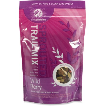 Camp and Hike Living Intentions Sprouted trail mix brings exciting new flavors to your camping menu. Wild Berry flavor has a tasty array of wild berries and other fruits from around the world mixed with sprouted pumpkin seeds, raw cashews and raw cacao nibs. Mango Goji Fire flavor is a fusion of sweet, spicy and crunchy with chunks of chili and mango, goji berries, sprouted almonds and seeds, dried fruit and habanero chili powder. Living Intentions Sprouted trail mix is gluten free, vegan and raw. - $6.93