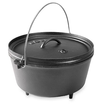 Camp and Hike The heirloom black patina on this 8 qt. Lodge Logic Deep Dutch oven eliminates the time and effort of seasoning--it's ready to use right out of the box! - $55.93